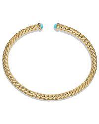 Or Jaune 18 Carats Câble Spira Bracelet Manchette Turquoise - Métallique David Yurman 4op1rQRJ