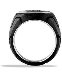 David Yurman | Forged Carbon Signet Ring With Black Diamonds | Lyst