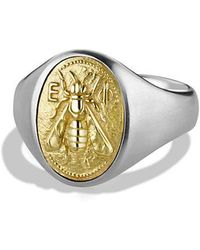 David Yurman - Petrvs Bee Signet Ring With 18k Gold - Lyst