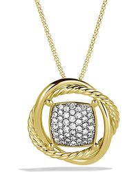 David Yurman - Crossover Pendant Necklace With Diamonds In 18k Gold - Lyst