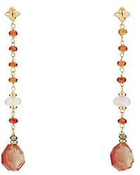 David Yurman - Bead And Chain Earrings With Sun Stone, Rose Quartz And Hessonite Garnet In 18k Gold - Lyst