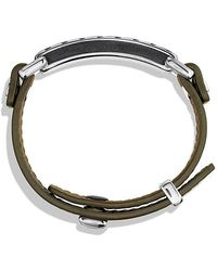 David Yurman - Modern Cable Id Bracelet In Army Green Leather - Lyst