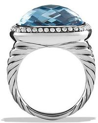 David Yurman - Albion® Ring With Blue Topaz And Diamonds, 17mm - Lyst