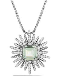 David Yurman - Starburst Necklace With Diamonds And Prasiolite In Silver, 30mm - Lyst