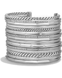 David Yurman - Stax Wide Cuff Bracelet With Diamonds, 54mm - Lyst