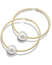 David Yurman - Solari Large Hoop Earrings With Pearls In 18k Gold - Lyst