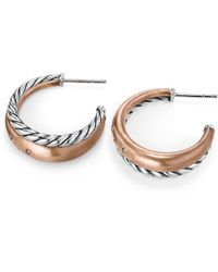 David Yurman - Pure Form® Mixed Metal Hoop Earrings With Diamonds, Bronze And Silver, 26.5mm - Lyst