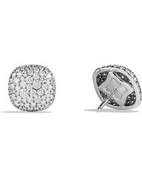 David Yurman | Pavé Earrings With Diamonds In 18k White Gold | Lyst