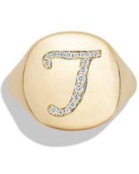 David Yurman - Dy Initial Pinky Ring With Diamonds In 18k Gold - Lyst