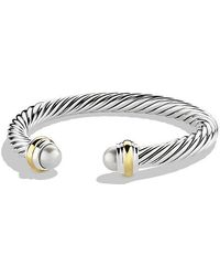 David Yurman - Cable Classics Bracelet With Pearl And 14k Gold, 7mm - Lyst