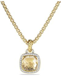 David Yurman - Albion® Pendant With Champagne Citrine And Diamonds With 18k Gold, 11mm - Lyst