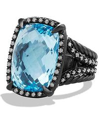 David Yurman | Châtelaine Ring With Blue Topaz And Gray Diamonds | Lyst