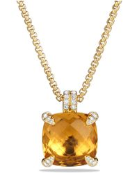 David Yurman - Châtelaine® Pendant Necklace With Citrine And Diamonds In 18k Gold, 14mm - Lyst