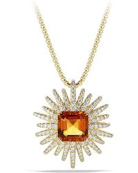 David Yurman - Starburst Pendant Necklace With Diamonds And Madeira Citrine In 18k Gold, 30mm - Lyst