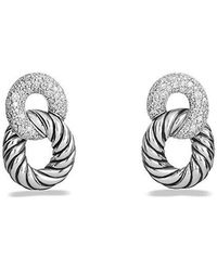 David Yurman - Belmont Curb Link Drop Earrings With Diamonds - Lyst