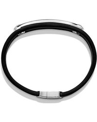 David Yurman   Graphic Cable Leather Id Bracelet In Black With Black Onyx   Lyst