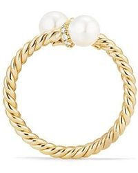 David Yurman - Solari Bypass Ring With Cultured Pearl And Diamonds In 18k Gold - Lyst