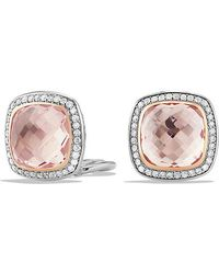 David Yurman - Albion Earrings With Morganite And 18k Rose Gold, 11mm - Lyst