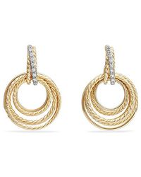 David Yurman - Crossover® Drop Earrings With Diamonds In 18k Yellow Gold, 30mm - Lyst