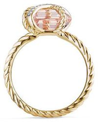 David Yurman - Cable Wrap Ring With Morganite And Diamonds In 18k Gold, 10mm - Lyst