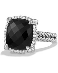 David Yurman - Chatelaine Pave Bezel Ring With Black Onyx And Diamonds, 14mm - Lyst