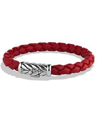 David Yurman | Chevron Rubber Weave Bracelet In Red, 8mm | Lyst