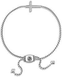 David Yurman - Petite Pavé Cross Bracelet With Diamonds - Lyst