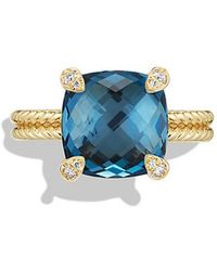 David Yurman - Chatelaine Ring With Hampton Blue Topaz And Diamonds In 18k Gold - Lyst