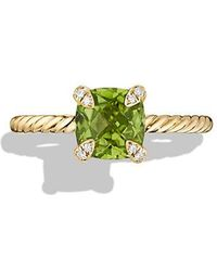 David Yurman - Chatelaine Ring With Peridot And Diamonds In 18k Gold, 7mm - Lyst
