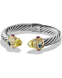 David Yurman - Renaissance Bracelet With Lemon Citrine,blue Topaz, Rhodalite Garnet And 14k Gold, 10mm - Lyst