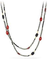 David Yurman - Dy Signature Bead Necklace With Pyrite, Red Agate And Black Onyx In 18k Gold - Lyst