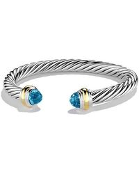 David Yurman - Cable Classics Bracelet With Blue Topaz And 14k Gold, 7mm - Lyst