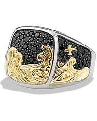 David Yurman - Waves Signet Ring With Black Diamonds And 18k Gold - Lyst