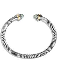 David Yurman | Cable Classic Bracelet Prasiolite With 14k Gold, 5mm | Lyst