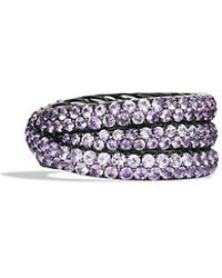 David Yurman - Crossover Ring With Purple Sapphires In 18k White Gold - Lyst
