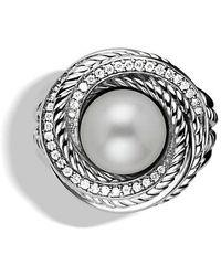 David Yurman | Crossover Pearl Ring With Diamonds | Lyst