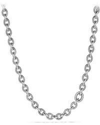 David Yurman - Large Oval Link Necklace With Diamonds - Lyst