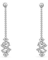 David Yurman - Crossover Chain Drop Earrings With Diamonds, 54mm - Lyst