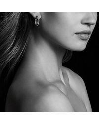 David Yurman | Stax Hoop Earrings With Diamonds In 18k White Gold | Lyst