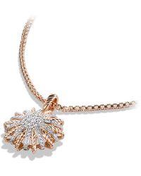 David Yurman - Starburst Small Pendant Necklace With Diamonds In 18k Rose Gold, 18mm - Lyst