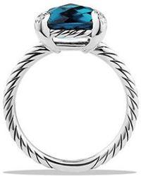 David Yurman - Châtelaine Ring With Hampton Blue Topaz And Diamonds, 11mm - Lyst