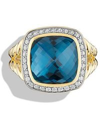 David Yurman - Albion® Ring With Hampton Blue Topaz And Diamonds In 18k Gold - Lyst