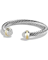 David Yurman - Cable Classics Bracelet With Diamonds And 18k Gold, 7mm - Lyst