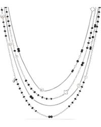 David Yurman - Oceanica Two-row Chain Necklace With Pearls And Black Spinel - Lyst