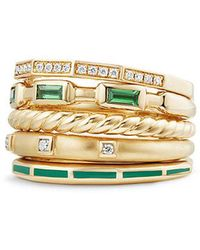 David Yurman - Stax Ring With Tsavorite, Green Enamel And Diamonds In 18k Gold, 13mm - Lyst