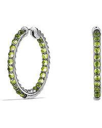 David Yurman - Osetra Hoop Earrings With Peridot - Lyst