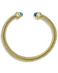 David Yurman - Cable Classics Bracelet With Blue Topaz And Diamonds In 18k Gold, 5mm - Lyst