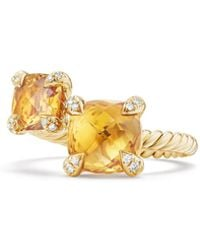 David Yurman - Chatelaine® Bypass Ring With Citrine And Diamonds In 18k Gold - Lyst
