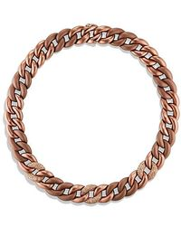 David Yurman - Belmont Curb Link Necklace With Cognac Diamonds In Titanium With An Accent Of 18k Rose Gold - Lyst