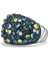 David Yurman - Osetra Dome Ring With Hampton Blue Topaz, Peridot And Diamonds, 17mm - Lyst